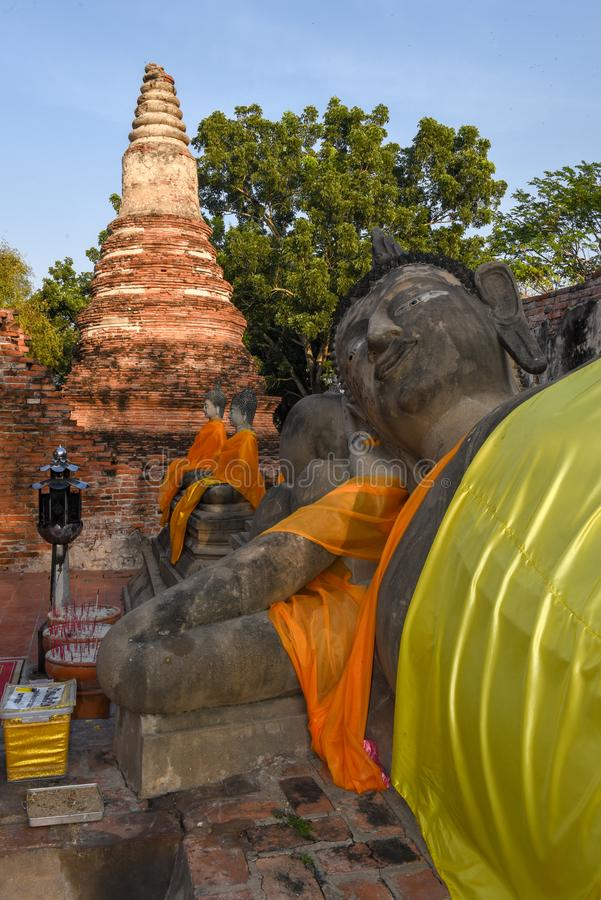 Lying buddha statue of Wat Phanan Choeng temple in Ayutthaya. On Thailand royalty free stock images