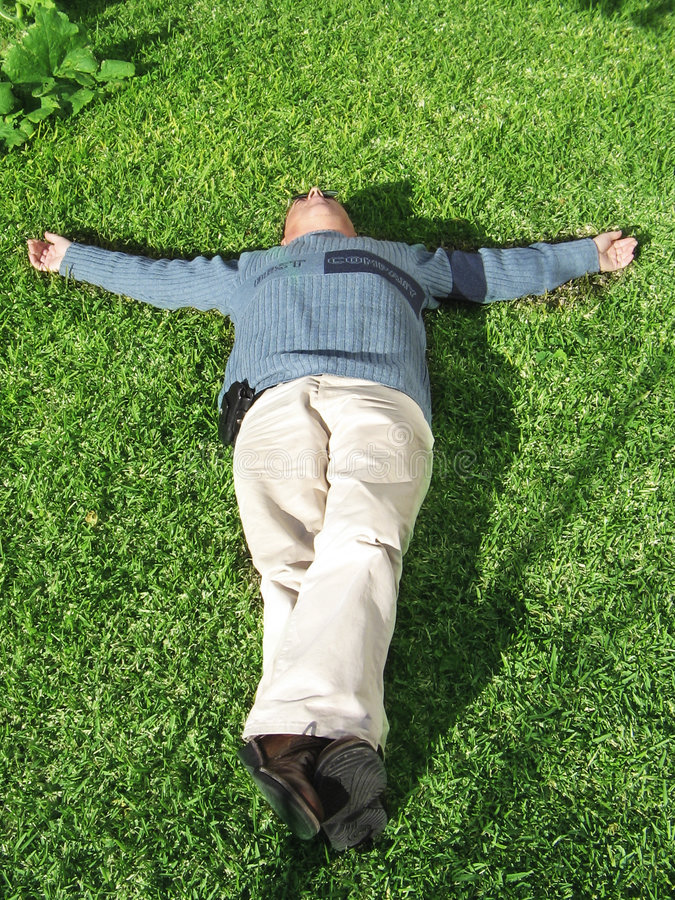 Lying down royalty free stock image