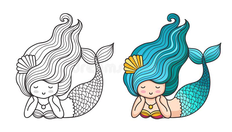 Cute Lying Dreamy Mermaid With Long Wavy Hair And Fish