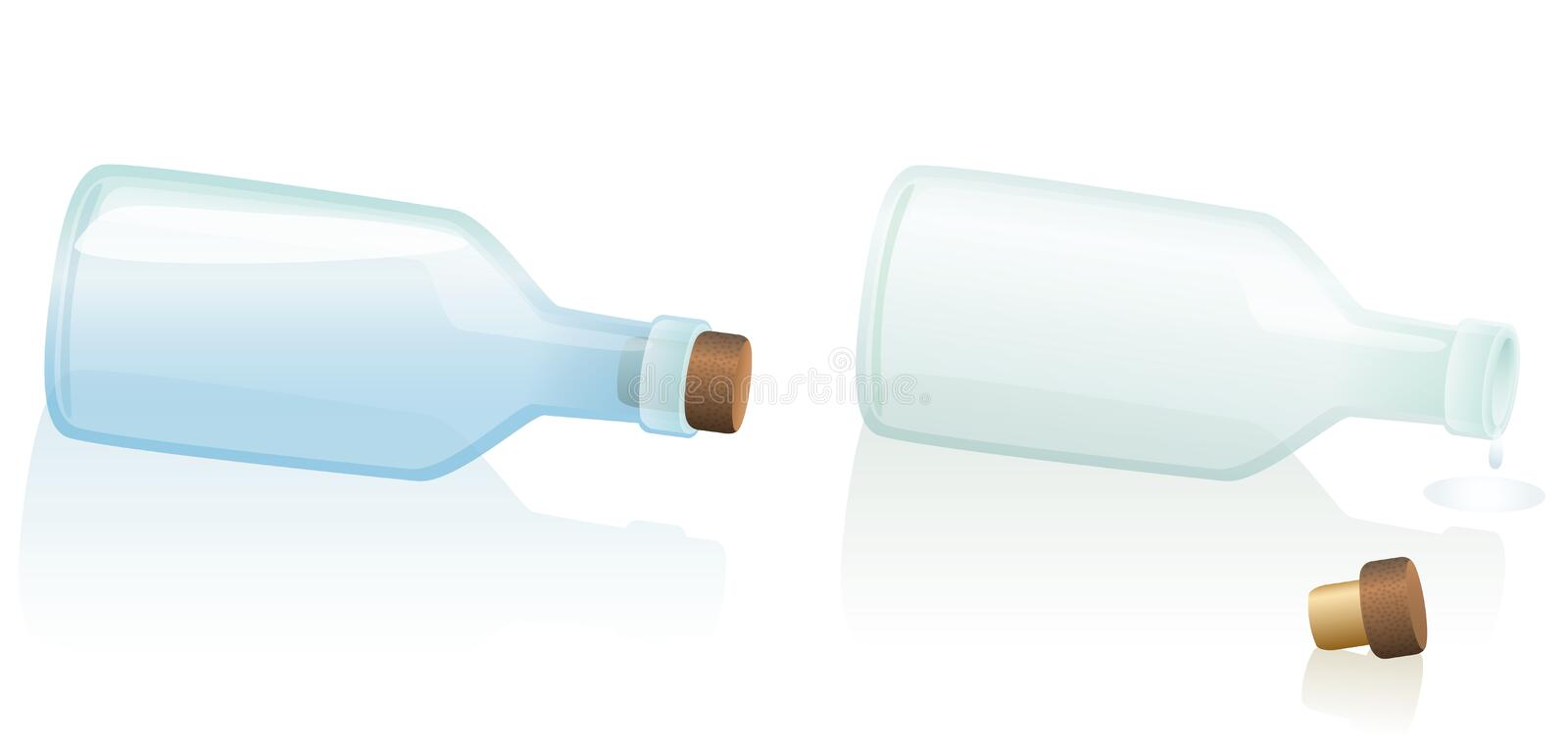 Lying Fallen Bottle Corked Uncorked. Horizontal lying, fallen bottles - one is filled with water or any other clear liquid, the other one is uncorked and empty stock illustration