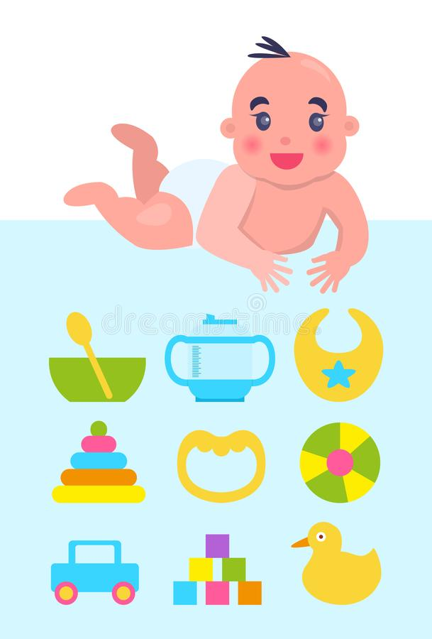 Lying on Floor Newborn with Toys and Dishware. Lying on bright blue floor newborn with toys and dishware, vector illustration with cute happy child, bowl and stock illustration