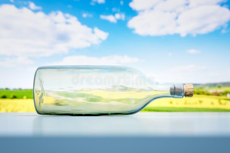 lying glass bottle landscape scenery background stock illustration