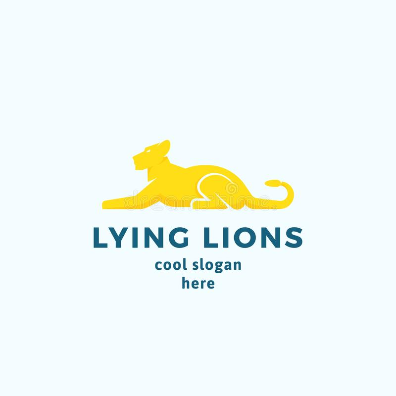 Lying Lions Abstract Vector Sign, Emblem or Logo Template. Flat Style Graceful Lioness Silhouette with Typography. Isolated stock illustration