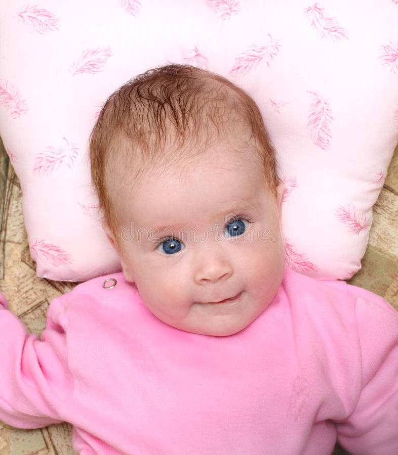 Lying looking newborn baby royalty free stock photo