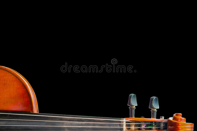 Lying Neck. A Still life with the neck and head of the fiddle, isolated on black stock photos