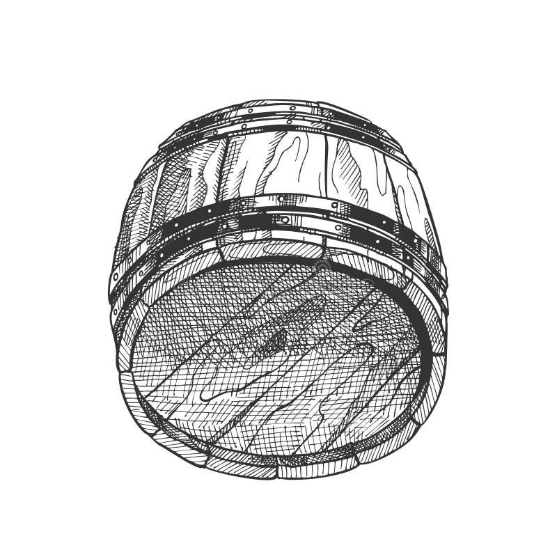 Lying Retro Drawn Wooden Beer Keg Barrel Vector vector illustration
