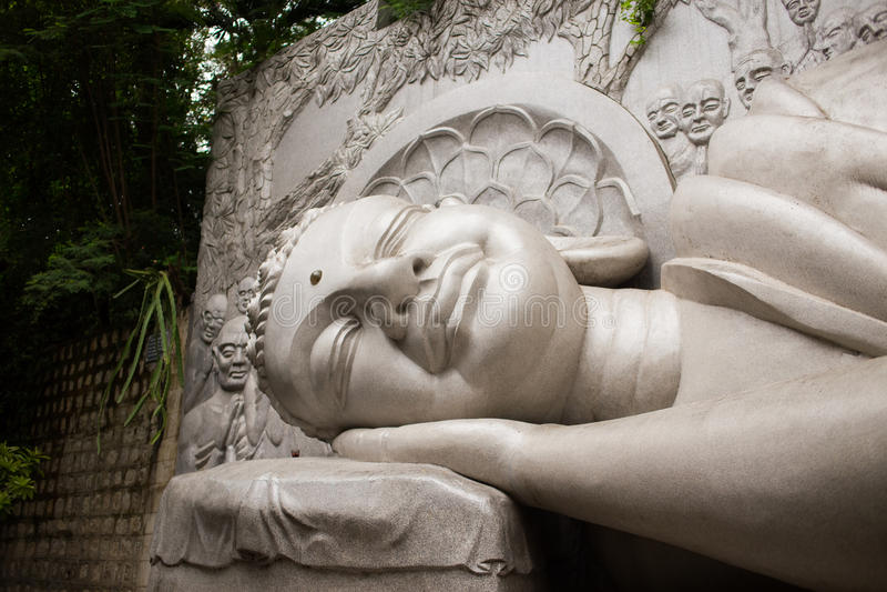 Lying sleeping Buddha in Long Son Pagoda, Nha Trang, Vietnam royalty free stock image