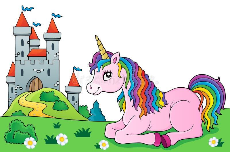 Lying unicorn theme image 5 vector illustration