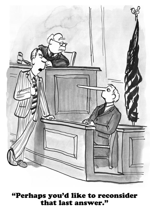Lying on Witness Stand. Legal cartoon about a witness who is lying on the witness stand stock photos