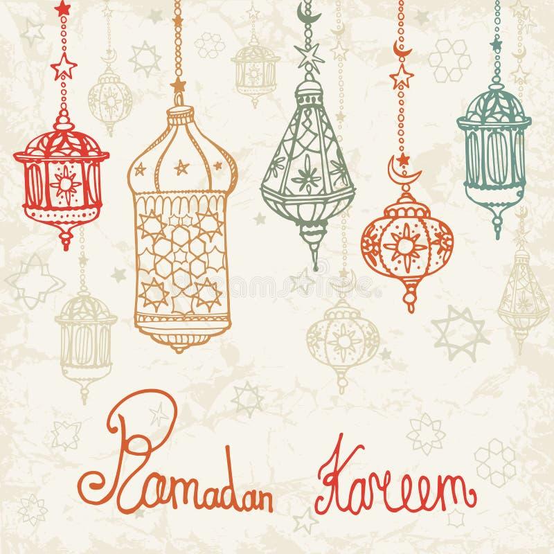 Lykta av Ramadan Kareem Glad jul för vektor royaltyfri illustrationer