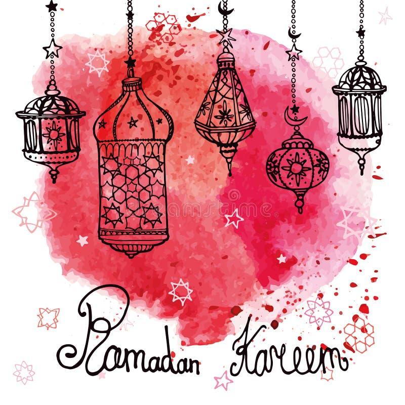 Lykta av Ramadan Kareem klotter Röd färgstänk för vattenfärg stock illustrationer