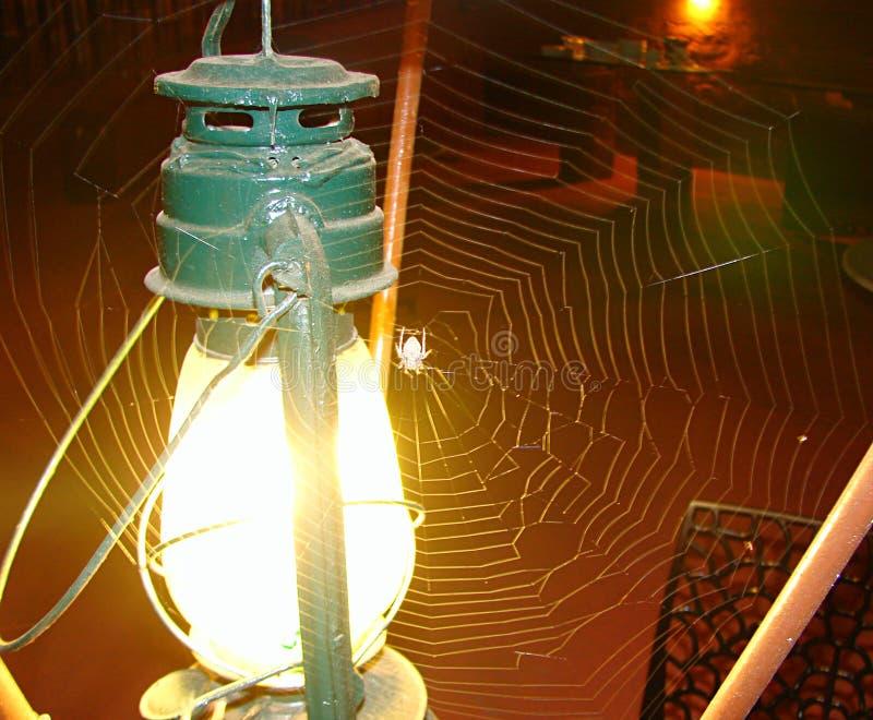 Lykta med ljus och spindelnät med spindeln royaltyfria bilder