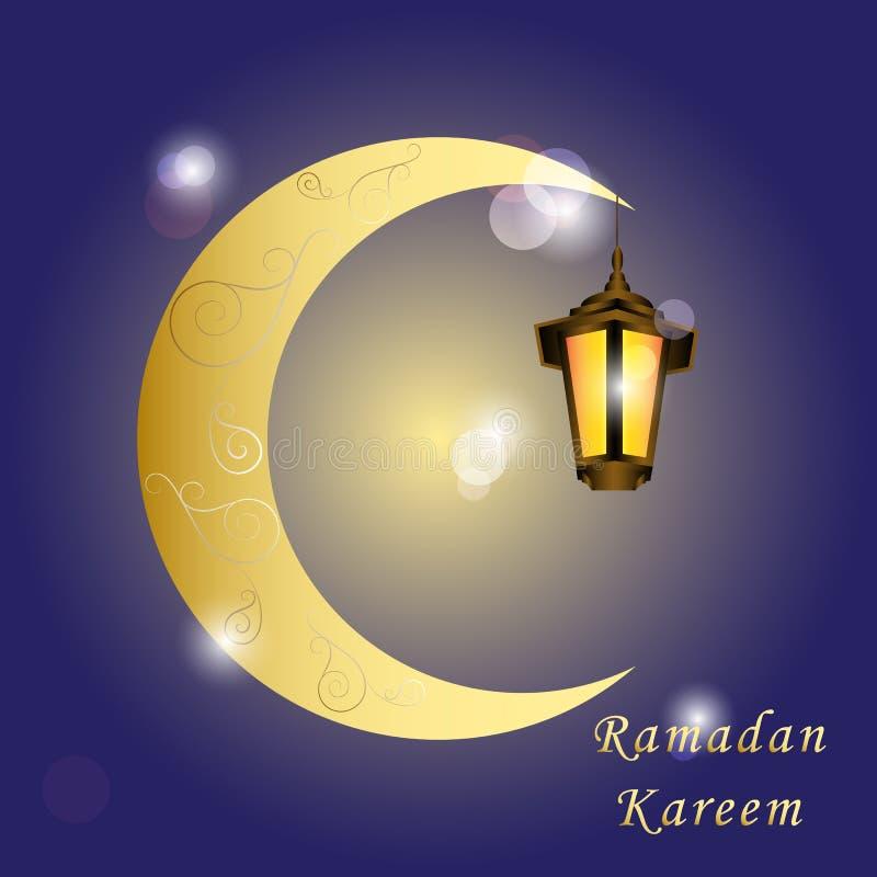 Lykta och islami för glöd för Ramadan Kareem hälsningkort guld- arabisk stock illustrationer