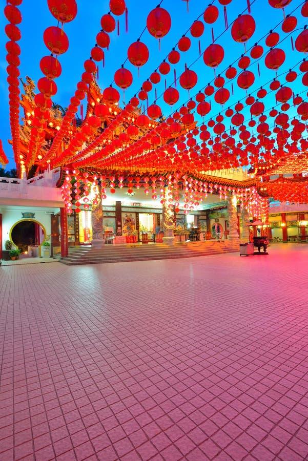 Lyktagarnering på den Thean Hou templet, Kuala Lumpur, Malaysia arkivfoto