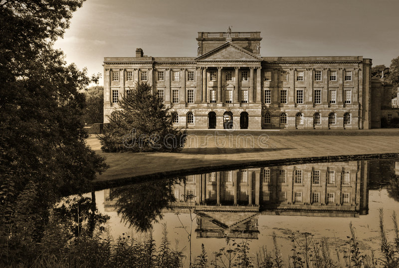 Lyme Hall, Back Side With Mirror Pool Stock Photos