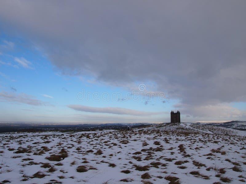 Lyme parkerar, nordliga England, i vinter royaltyfria bilder