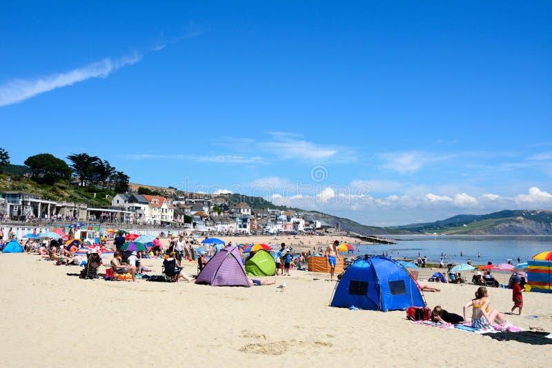 Lyme Regis Beach arkivfoton