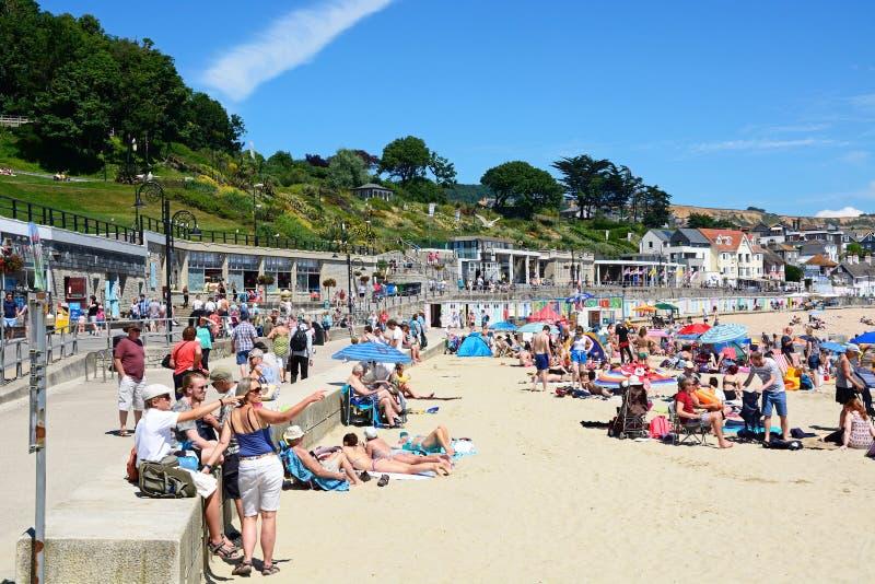 Lyme Regis Beach royaltyfria bilder