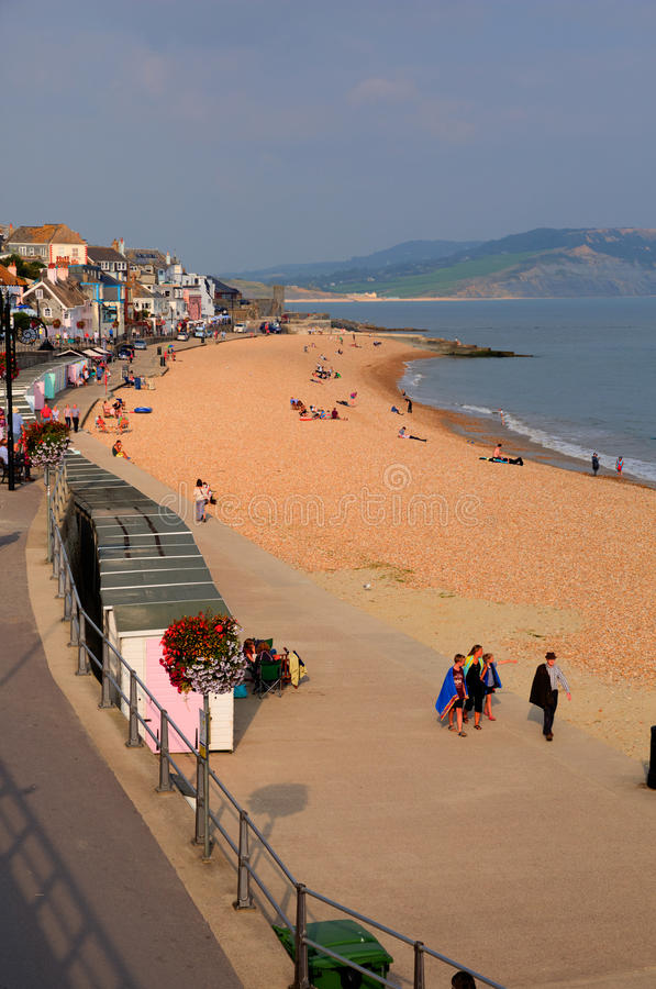 Lyme Regis on the Dorset uk coast at to enjoy the late summer sunshine on Thursday 4th Septemb royalty free stock photo