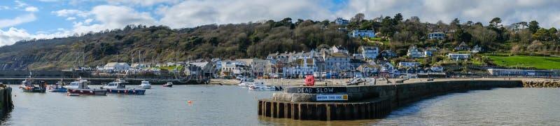LYME REGIS, DORSET/UK - MARS 22: Sikt av Lyme Regis från Het royaltyfri fotografi
