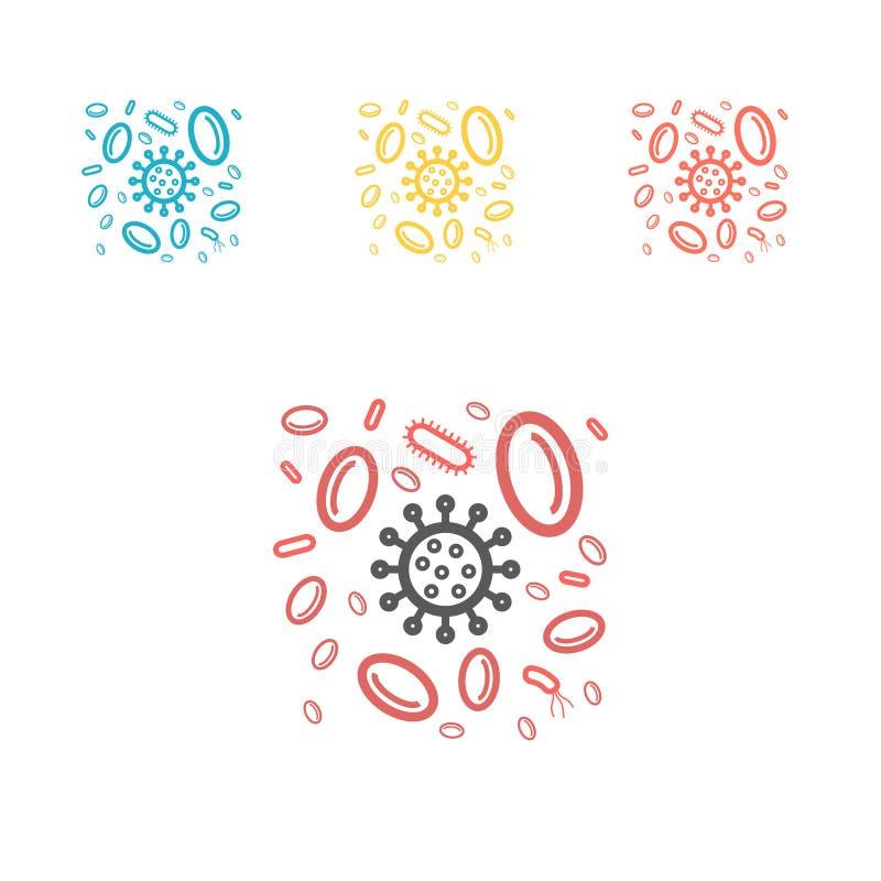 Lymfocyten die het pictogram van de virussenlijn aanvallen Vector medische illustratie op immuniteit stock illustratie
