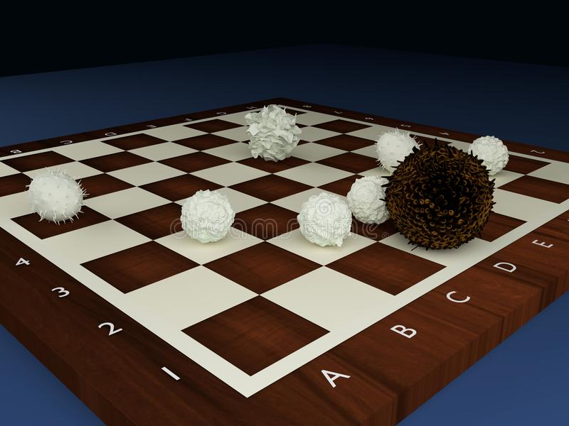 Lymphocytes attacking a cancer cell. 3d illustration of immune system cells as chess pieces on a chess board blood lymphocytes attacking a cancer cell vector illustration