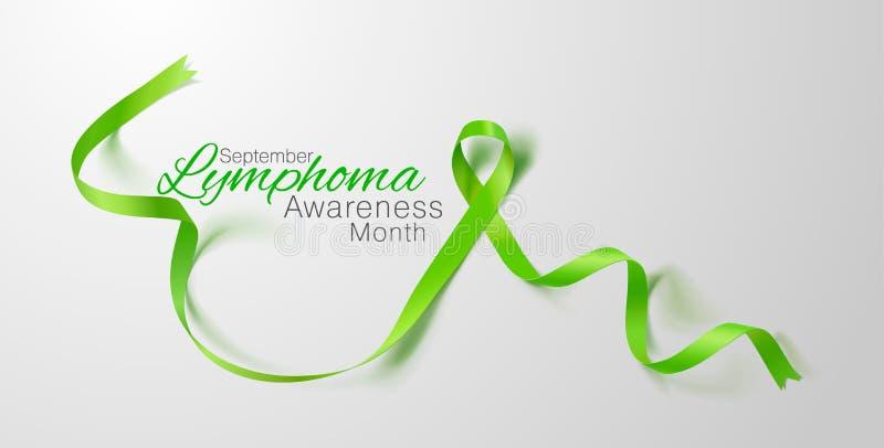 Lymphoma Awareness Calligraphy Poster Design. Realistic Lime Green Ribbon. September is Cancer Awareness Month. Vector. Illustration stock illustration