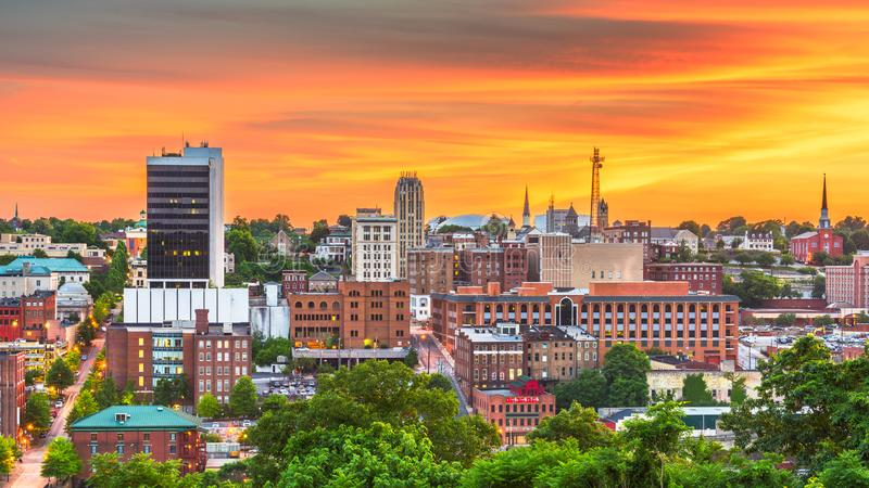 Lynchburg, Virginia, USA downtown city skyline. At dusk stock image