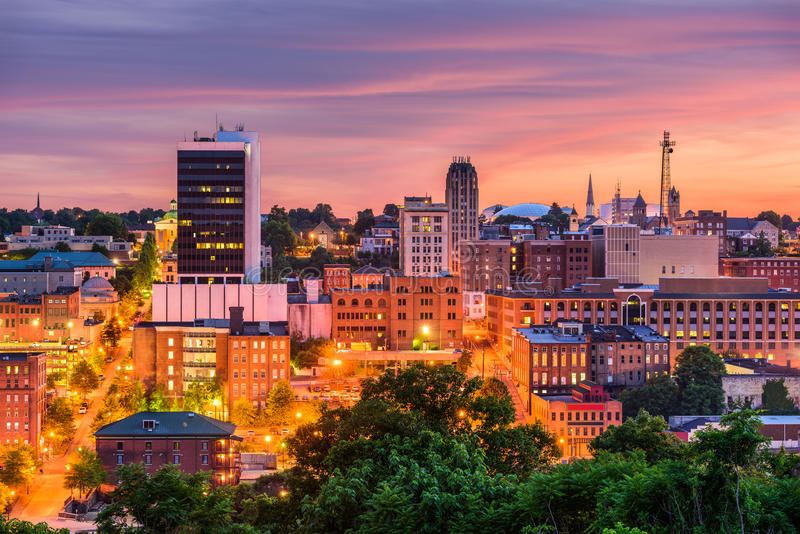 Lynchburg, Virginia, USA Skyline. Lynchburg, Virginia, USA downtown city skyline at dusk stock photo