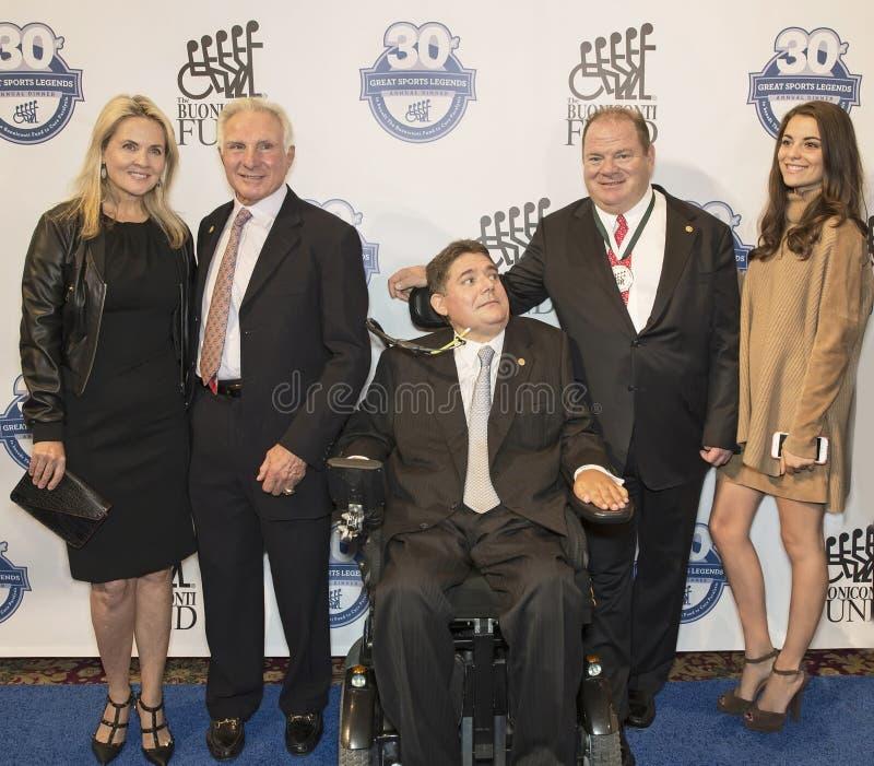Lynn Buonicont, Nick Buoniconti, Marc Buoniconti, en Chip Ganassi royalty-vrije stock foto