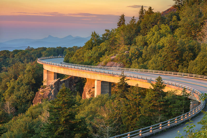 Lynn Cove Viaduct, scenic sunrise, north carolina royalty free stock photography