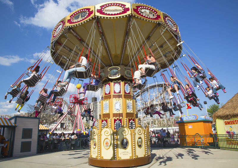 Lynn's Trapeze swing carousel in Coney Island Luna Park royalty free stock photography
