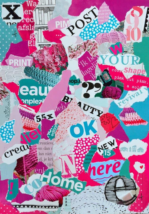 Lynnebräde som göras av tidskrifter i rosa och blå gräsplan för kvinnlig royaltyfri illustrationer