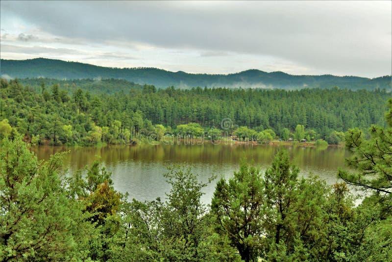 Lynx湖,布拉德肖别动队员区,普里斯科特国家森林,亚利桑那州,美国 免版税图库摄影