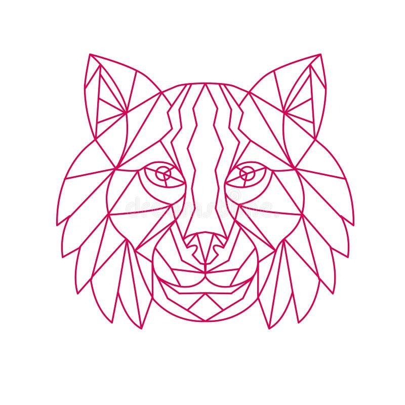 Lynx Bobcat Head Mono Line royalty-vrije illustratie