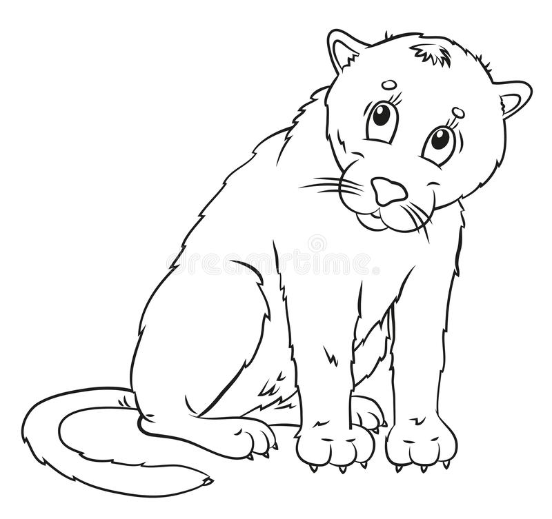 Lynx, coloration, l'image de l'animal en noir et blanc illustration de vecteur