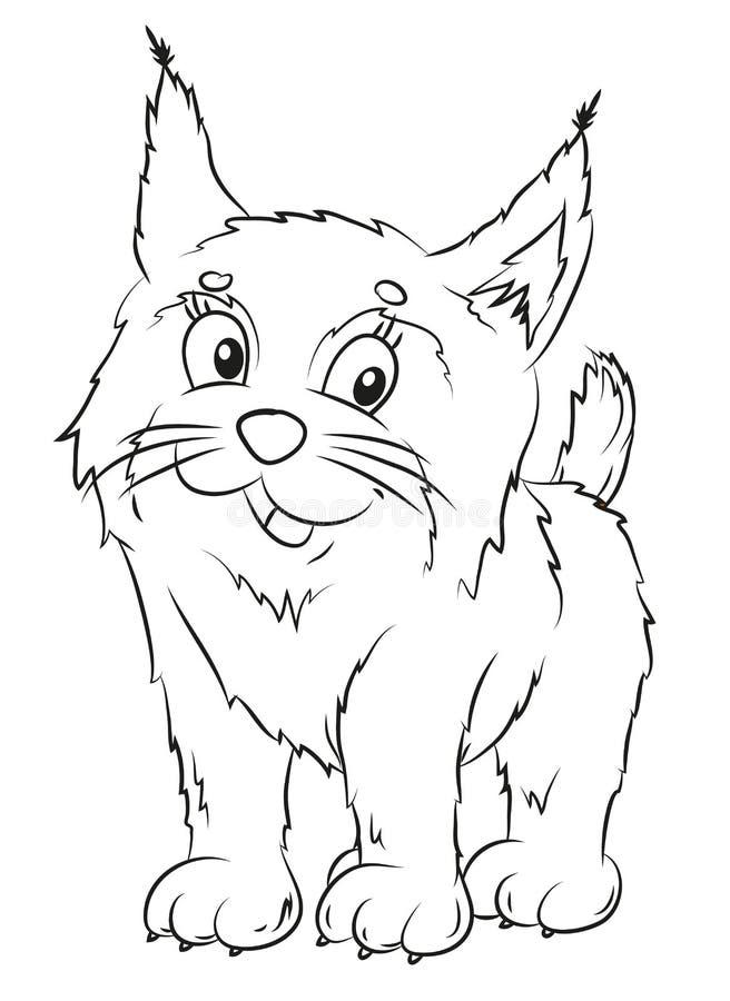 Lynx, coloration, l'image de l'animal en noir et blanc illustration stock