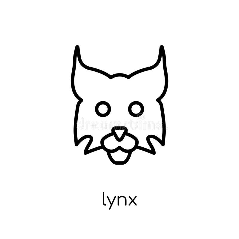 Lynxpictogram In modern vlak lineair vectorlynxpictogram op witte B stock illustratie