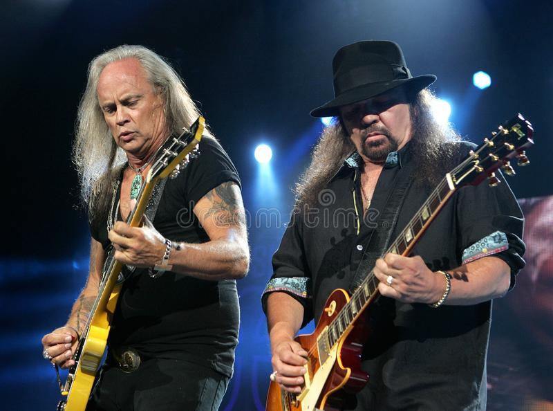 Lynyrd Skynyrd performs in concert. Rickey Medlocke L and Gary Rossington with Lynyrd Skynyrd perform in concert at the Cruzan Amphitheater in West Palm Beach royalty free stock photos