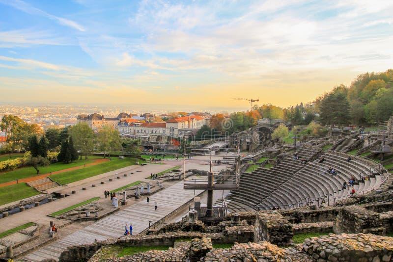 Lyon amphitheater roman. Ancient roman amphitheater in lyon france stock photo