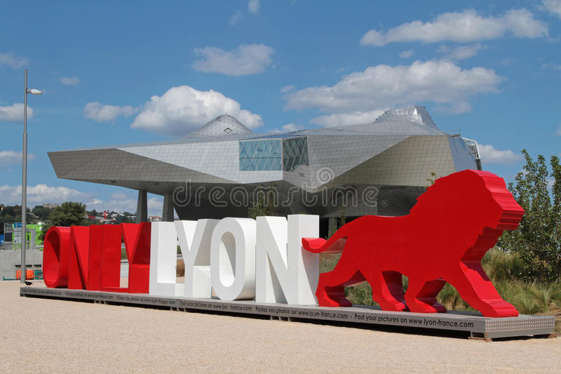 Lyon branding words and Musee des Confluences. LYON, FRANCE, September 4, 2015 : OnlyLyon, the city branding word in front of the Musee des Confluences, a royalty free stock photography