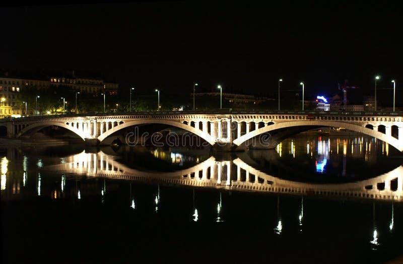 Lyon bridge at night stock image