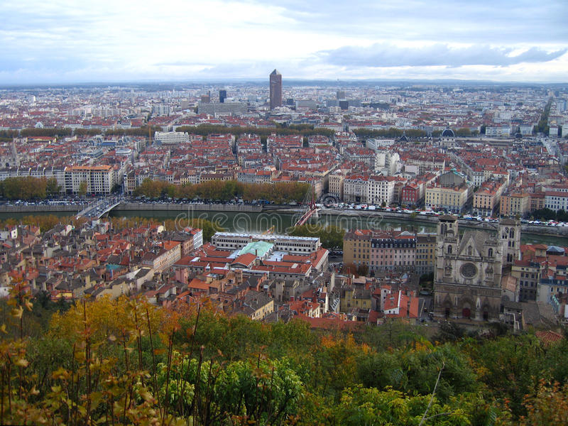 Lyon France. Lyon cityscape elevated view, France royalty free stock image