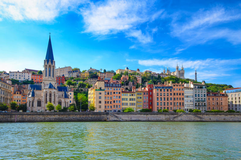 Lyon cityscape from Saone river. With colorful houses and river, France stock photos