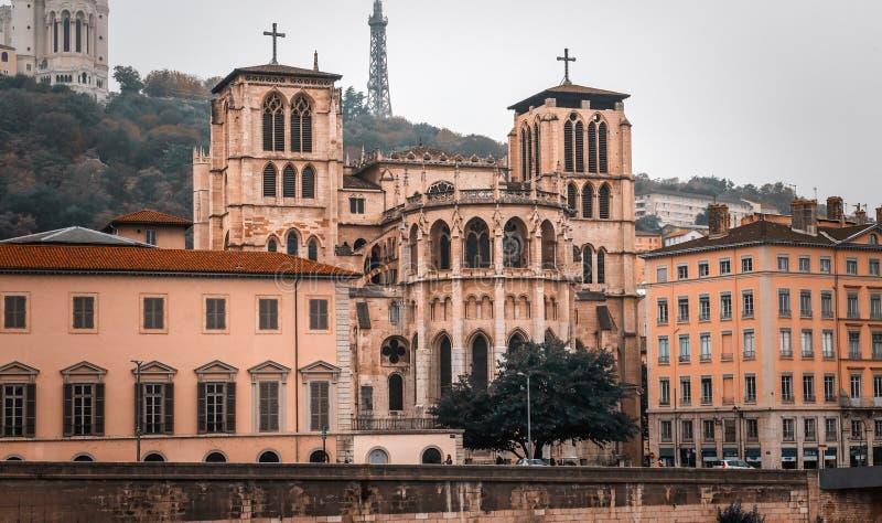 Lyon cityscape, Views of the Lyon city, Frankrijk, reis Europa stock afbeelding