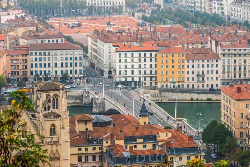Lyon cityscape, Views of the Lyon city, Frankrijk, reis Europa stock afbeeldingen