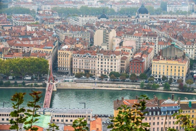 Lyon cityscape, Views of the Lyon city, Frankrijk, reis Europa royalty-vrije stock afbeelding