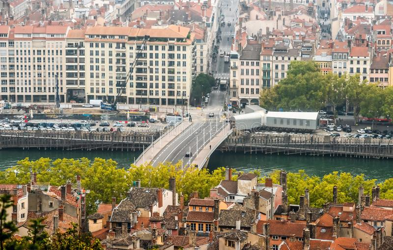 Lyon cityscape, Views of the Lyon city, Frankrijk, reis Europa royalty-vrije stock afbeeldingen