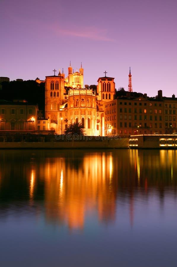 Download Lyon at dusk stock photo. Image of illuminated, french - 4170118
