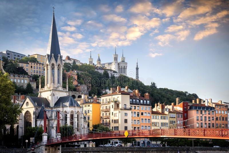 Lyon, Eglise Saint George seen from the Passerelle St. George Walkways. France. stock photo